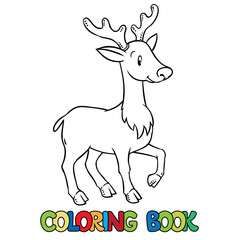 Coloring book of lttle funny young deer or fawn