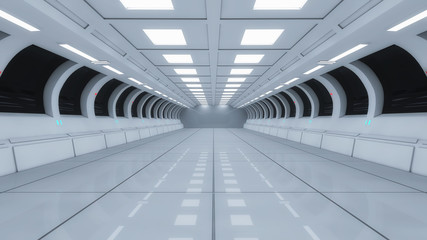 3d render interior. Futuristic hallway. Interior concept design