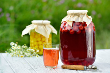Preserved fruit, sour cherries compote