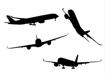 Airplane black icon collection