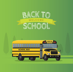 Vector yellow school bus isolated on green background