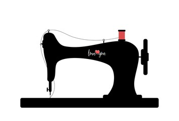 Old sewing machine silhouette with Love you text