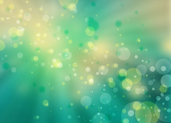 pretty bokeh background with sunbeam or rays shining through round circle shapes floating in bright blue green sky