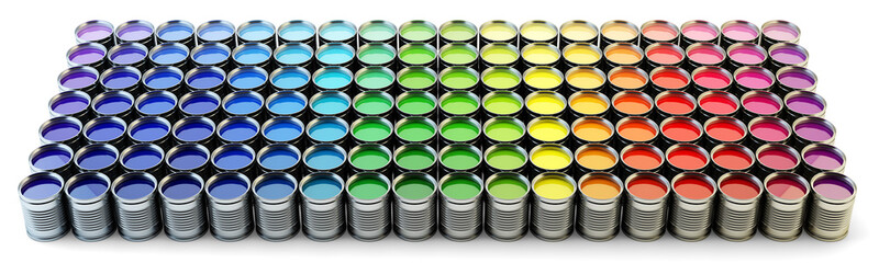 Rainbow paint palette, set of metal cans with liquid ink with variety of colors isolated on white