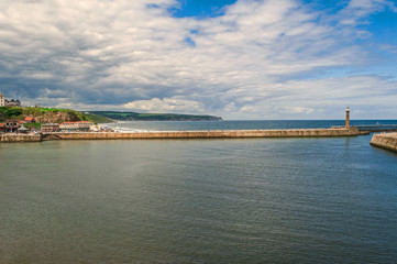 Whitby harbour, the North Pier,breakwater in summer