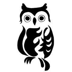 High quality owl for coloring or tattoo isolated on white backgr