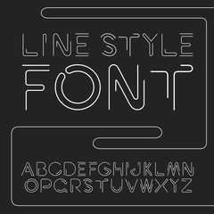 Vector linear font - simple and minimalistic alphabet in line style