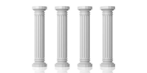 Four white marble pillars. 3d illustration Wall mural