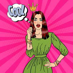 Young Pretty Woman Posing with Photo Booth Crown. Pop Art. Vector illustration
