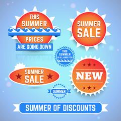 Set of summer promo labels.