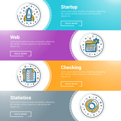 Set of flat line business website banner templates. Vector illustration. Modern thin line icons in circle. Startup, Web, Checking, Statistics