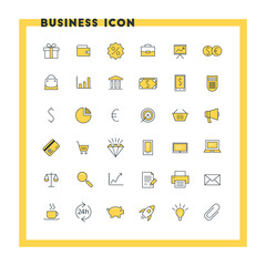 Business flat design icon set. Money, shopping, bank, card, promotion. Vector icons. Yellow and black colors