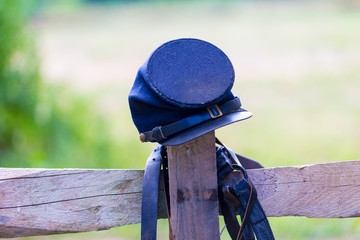 US Federal Soldiers Cap on fence post
