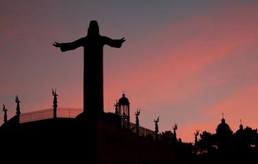 Early morning sunrise of Jesus monument in Tijuana