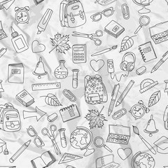 Vector seamless pattern with doodle school tools. Hand drawn outline school icons on white crumpled paper. Back to school vintage design.
