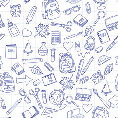 Vector seamless pattern with doodle school tools. Hand drawn school icons. Back to school illustration on school notebook sheet of paper. Design for fashion print, wrapping, web backgrounds.