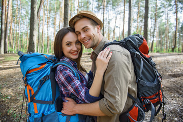 Joyful tourists enjoying romantic journey