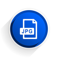 jpg file flat icon with shadow on white background, blue modern design web element