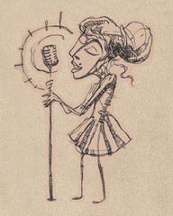 Retro girl singing with a microphone