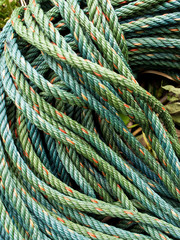 Roll bristly of green nylon rope