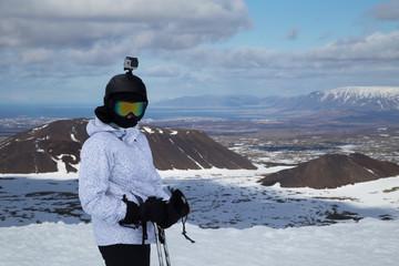 Action camera skier