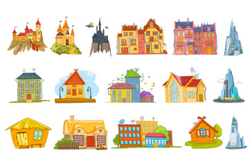 Vector set of various houses illustrations.