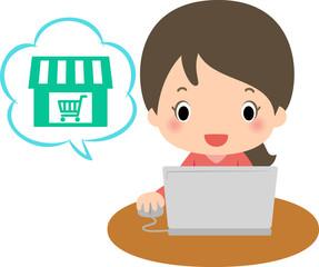 パソコンでオンラインショッピングをする女性
