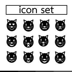 cat emotion icon set illustration design