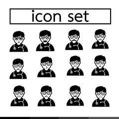 doctor emotion icon set illustration design