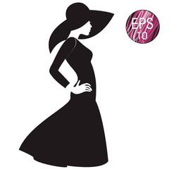 Woman's silhouette in black hat