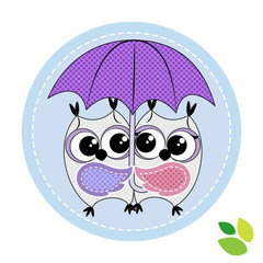 cute couple of owls with umbrella