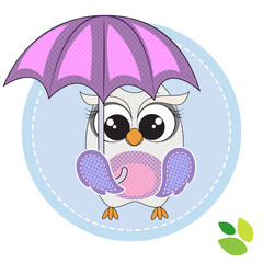 cute owl with umbrella