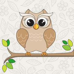 cute owl on the branch