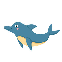 illustration of isolated dolphin on white background