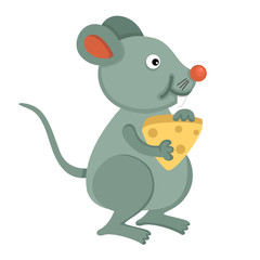 illustration of isolated  rat eating cheese on white background.