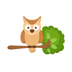 illustration of isolated owl sitting on tree branch