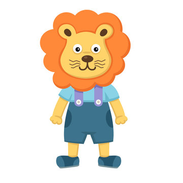illustration of isolated  cute lion on white background