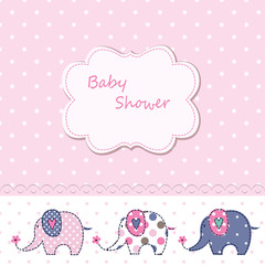 Baby shower with cute cartoon elephants
