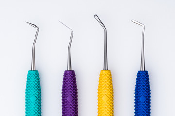 Dental tools on a white background