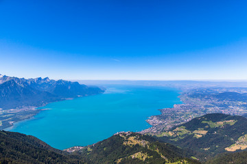 Aerial view of Lake Geneva from Rochers-de-Naye