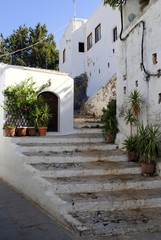 street view of the Greek village / street view of urban landscapes on the island of Lindos