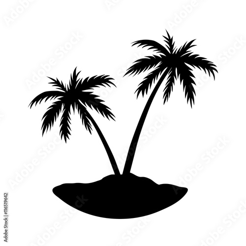 Two Palms On Island Black Coconut Tree Silhouette Isolated On