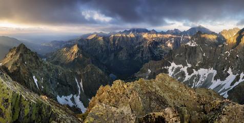Fototapete - Sunset on mountain, Tatras