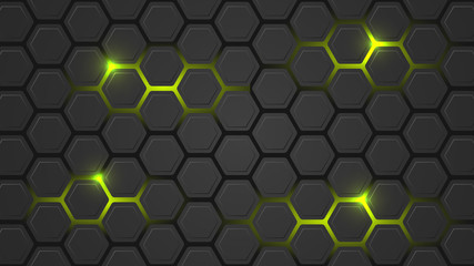 Dark vector illustration with a hexagonal pattern and green backlight.
