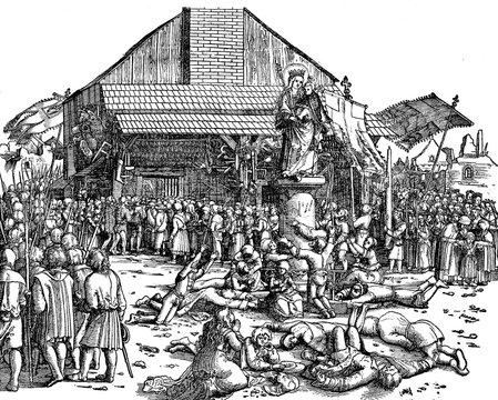 Pilgrims adoring the Holy Virgin (XVI century)