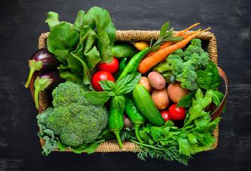Fresh farm vegetables in a basket