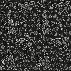 Pizza ingredients - black board seamless pattern