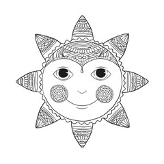 Doodle sun - black and white. Vector isolated sketch.