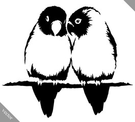 black and white paint draw parrot bird vector illustration