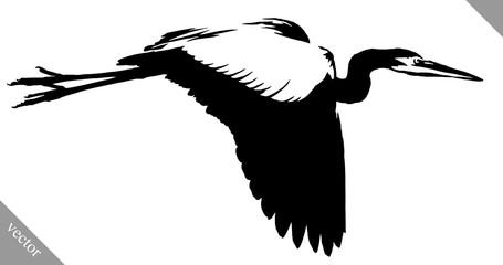 black and white paint draw crane bird vector illustration